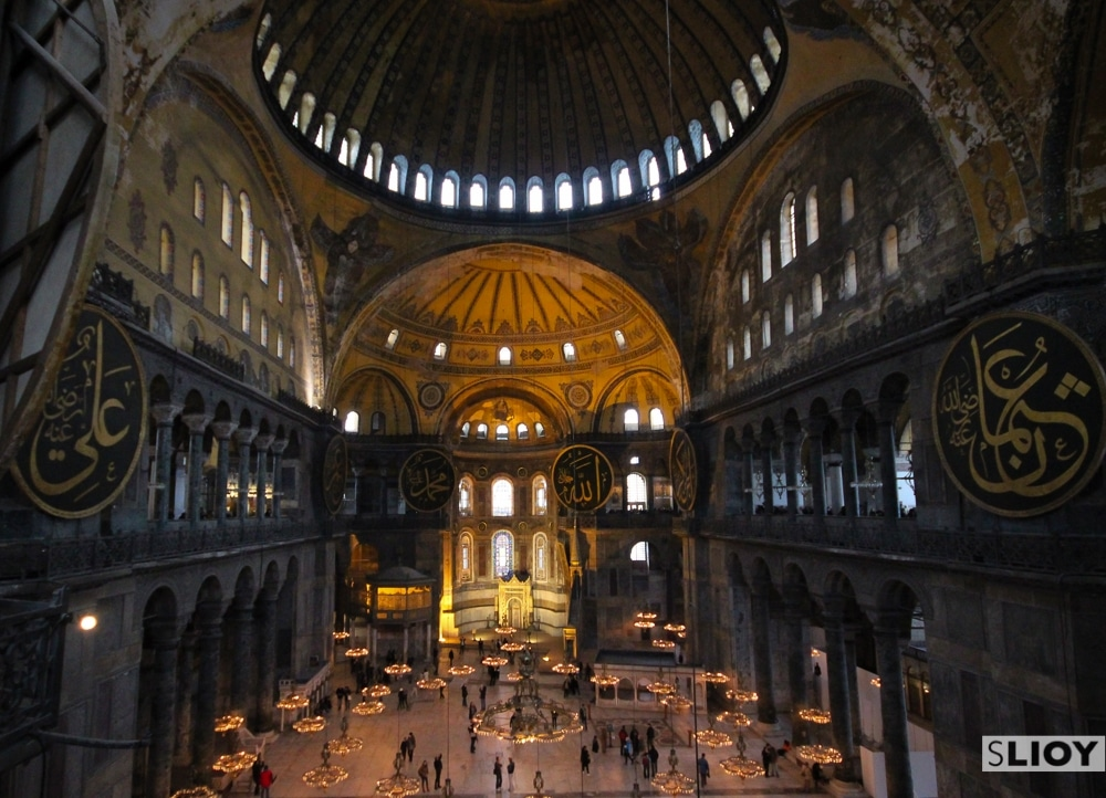 interior of the hagia sophia in istanbul turkey
