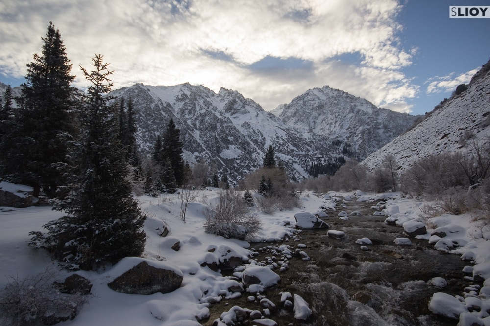 Ala Archa Valley in the winter.