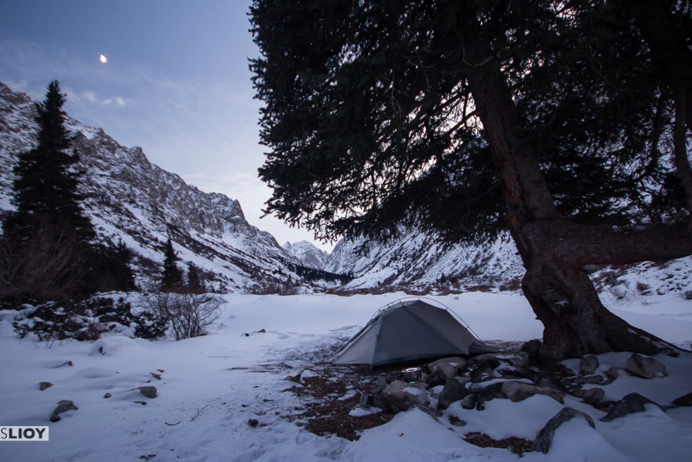 Snow camp during winter in Kyrgyzstan.
