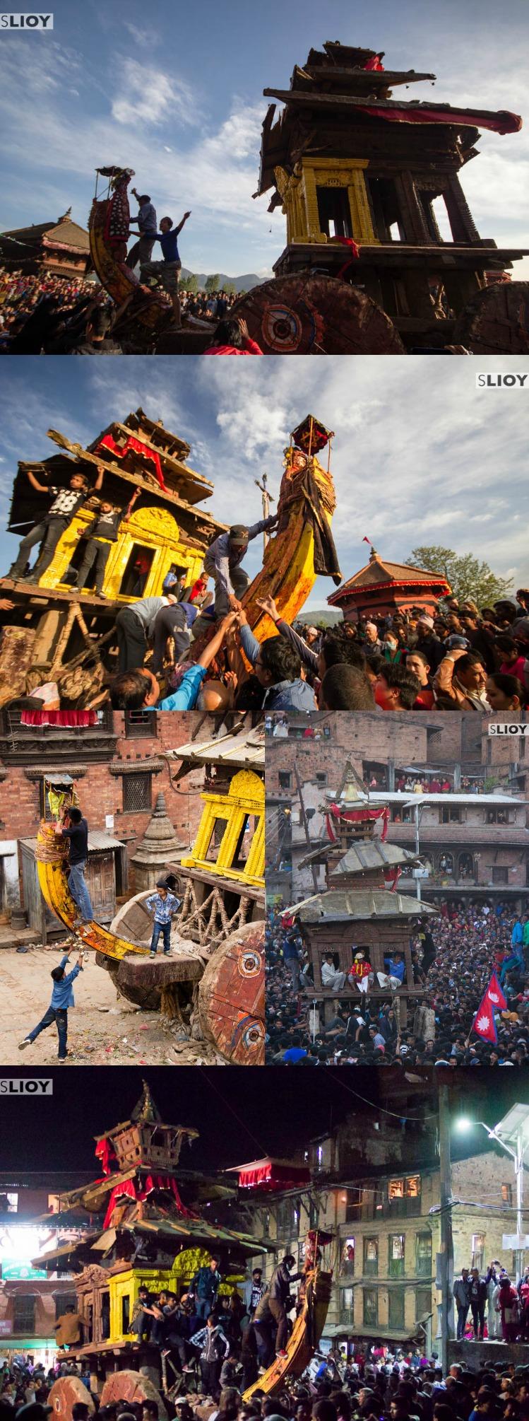Chariots at Bisket Jatra Festival in Bhaktapur