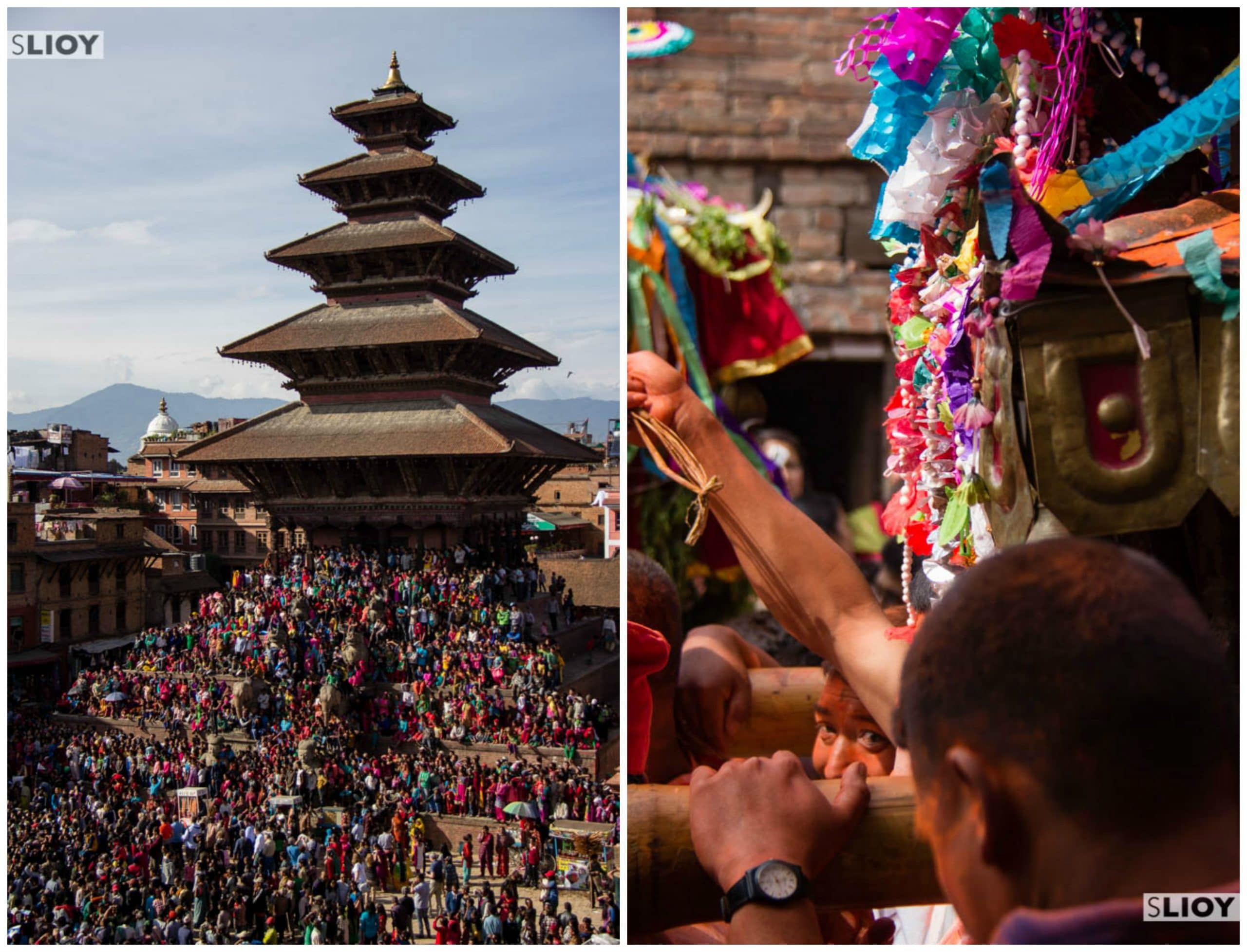 Crowds at Bisket Jatra Festival in Nepal