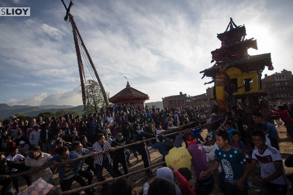 Yoshin Pole and Chariot at Bisket Jatra in Bhaktapur