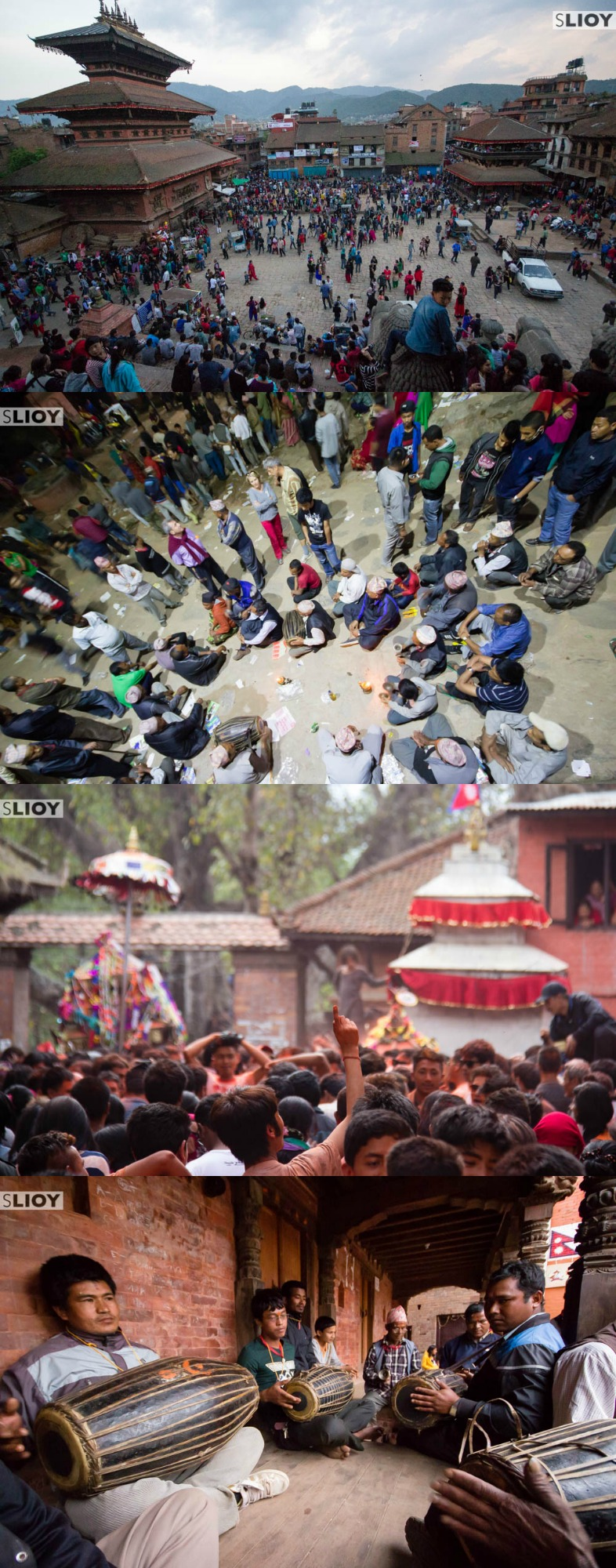 Musicians and partiers at the Bisket Jatra Festival in Nepal