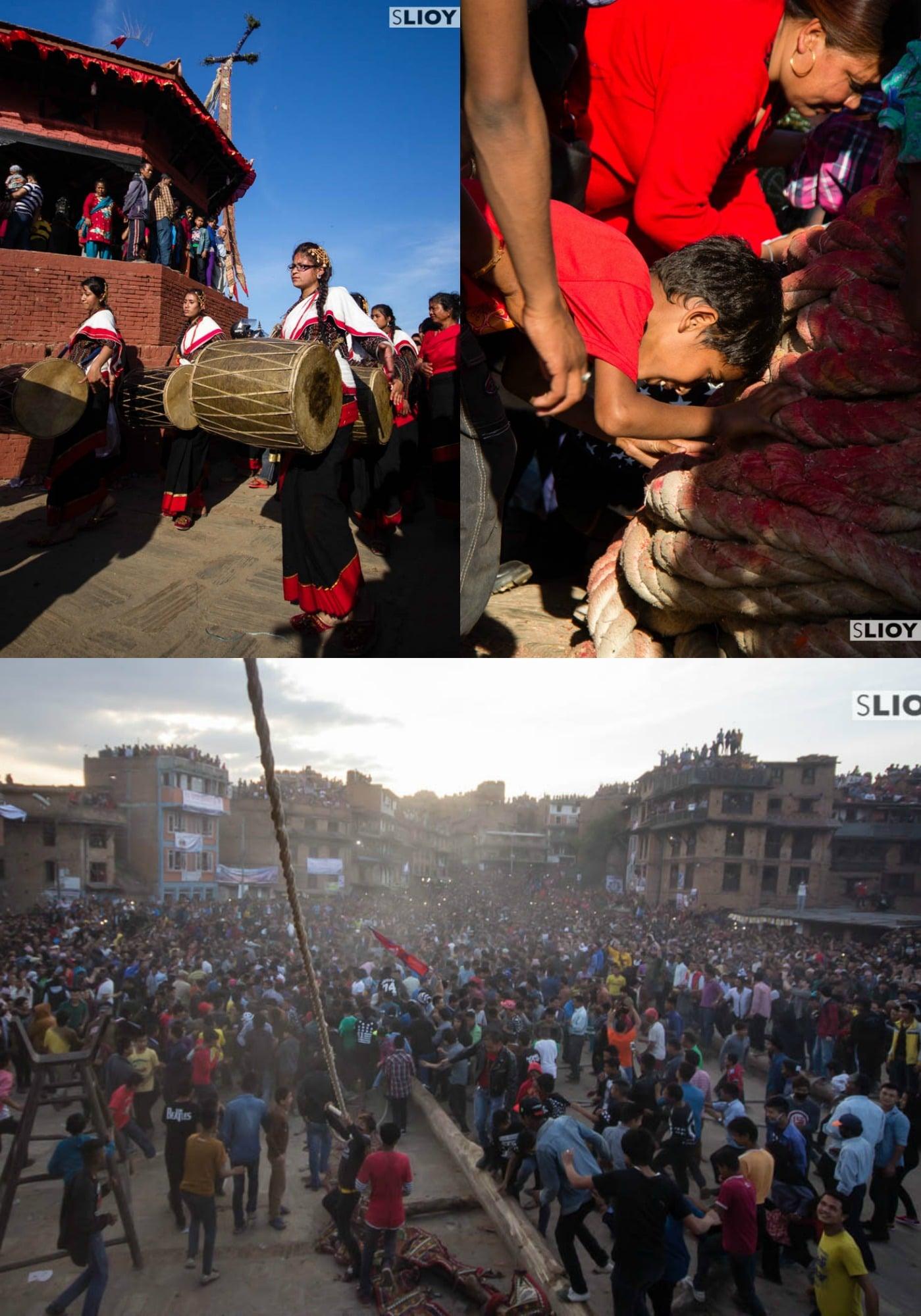 Shiva linga at Bisket Jatra Festival in Nepal