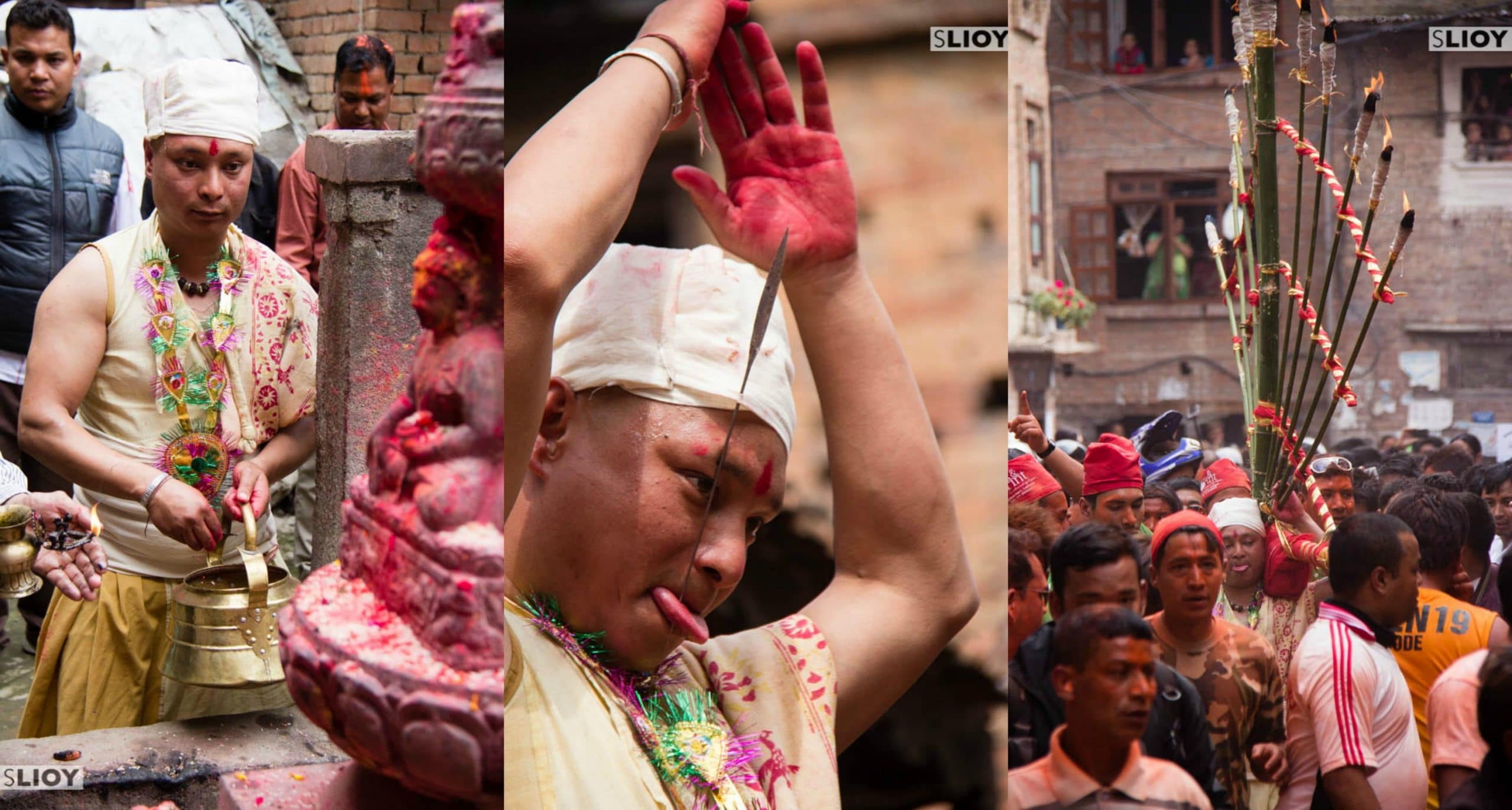 Tongue Piercing at Bisket Jatra Festival in Nepal