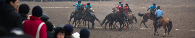 Ulak Tartysh Horse Games during Nooruz Persian New Year in Bishkek, Kyrgyzstan